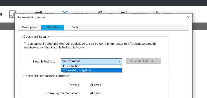 pdf editor - document security editing screen