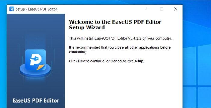 easeus pdf editor installer running
