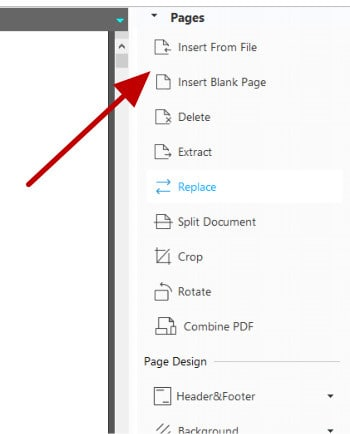 pdf editor - pages right menu