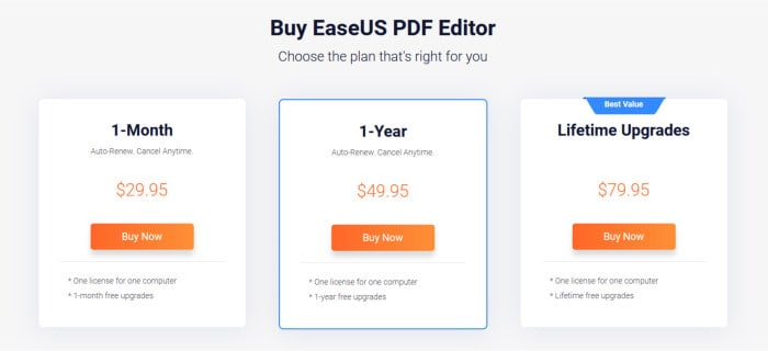 easeus pdf editor pricing tables