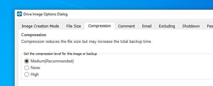 shadowmaker backup compression options