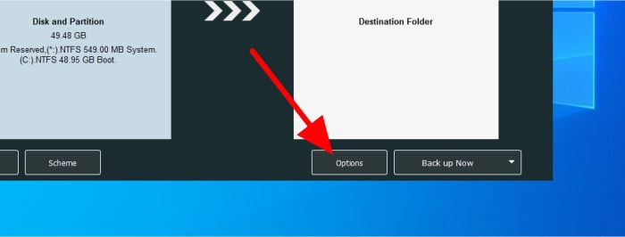 shadowmaker backup options button