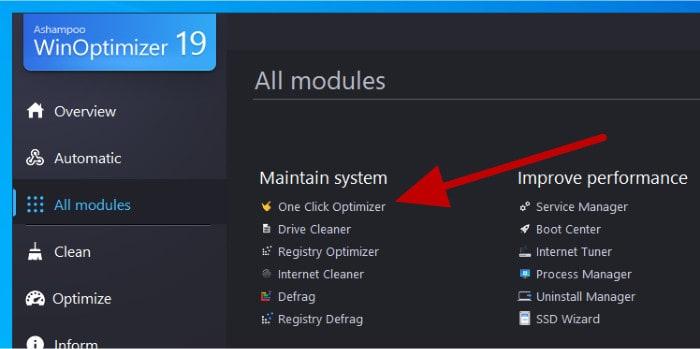1-click optimizer launch button