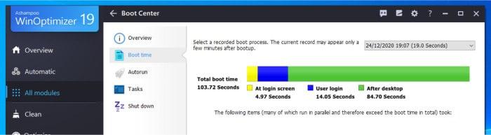 winoptimizer boot center analysis