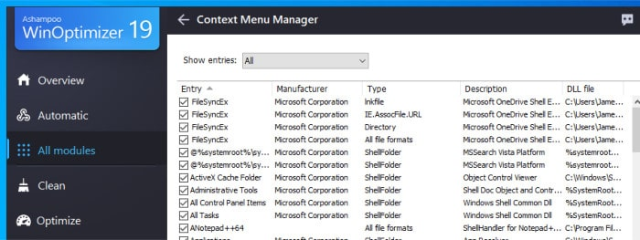 winoptimizer 19 context menu manager