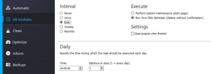 winoptimizer daily scheduling options