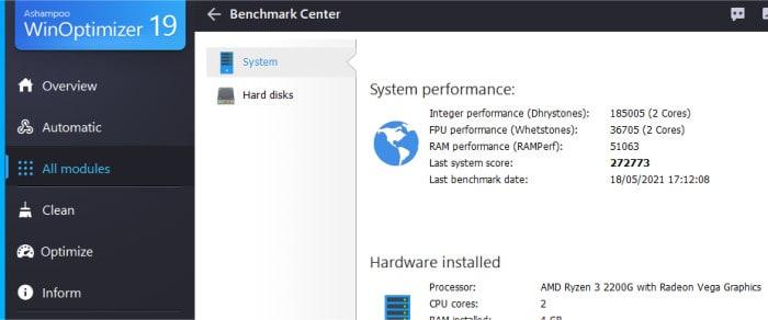 winoptimizer 19 system benchmarks