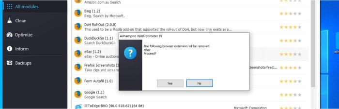 winoptimizer 19 uninstall browser extension