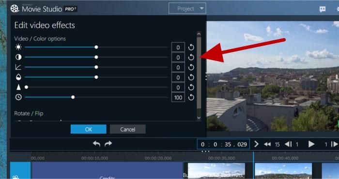 movie studio pro 3 - adjust video levels