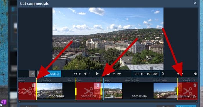 movie studio pro 3 - cut commercials tool