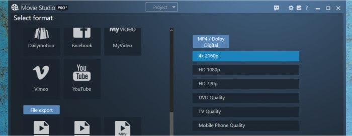 movie studio pro 3 - file export options