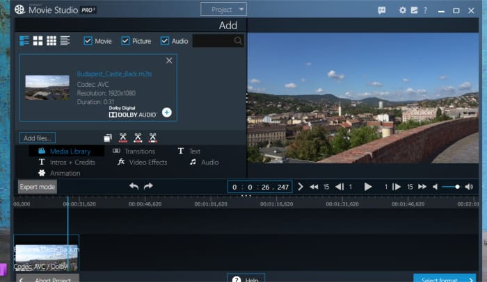 movie studio pro 3 simple mode editor view