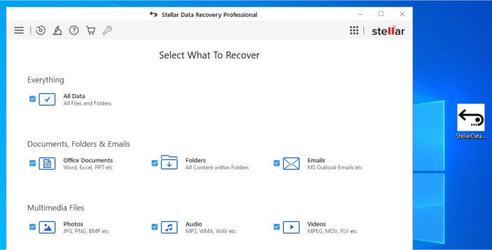 stellar data recovery initial recovery scan setup
