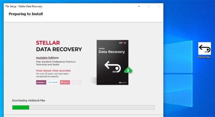 stellar data recovery - installer running