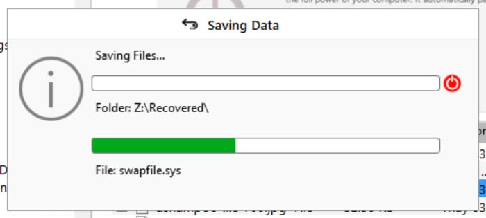 stellar data recovery - recovery status box