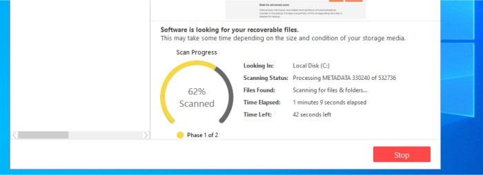 stellar data recovery scan in progress