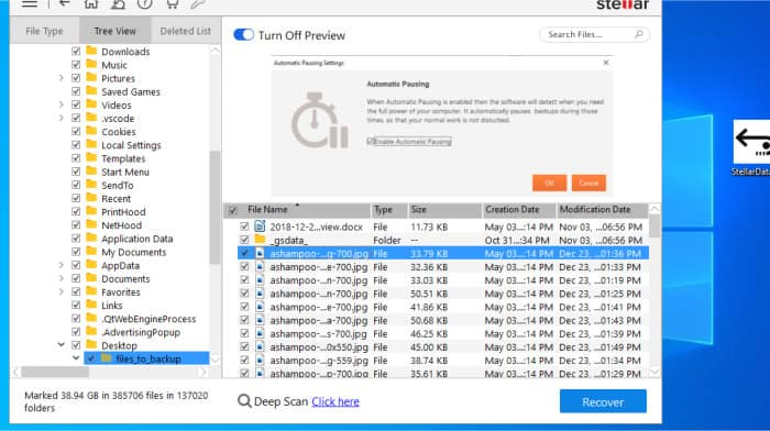 stellar data recovery scan results and recovery preview