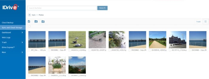 idrive cloud photo gallery view