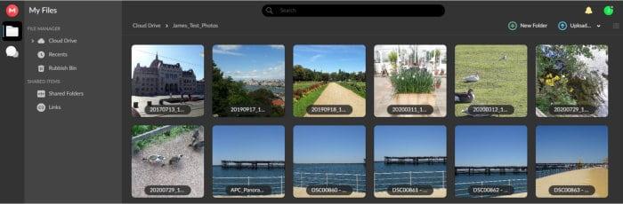 mega.nz cloud photo gallery view