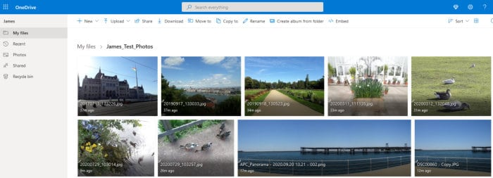 onedrive coud photo gallery view