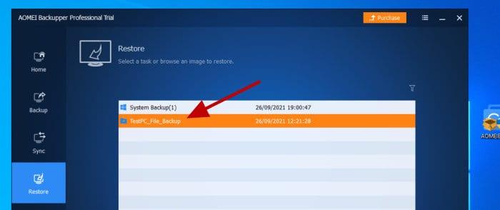 aomei backupper - perform file level restore