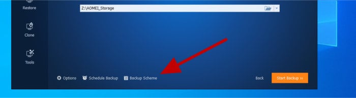 backupper backup options buttons