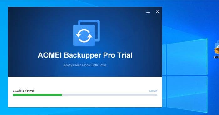 aomei backupper installer running