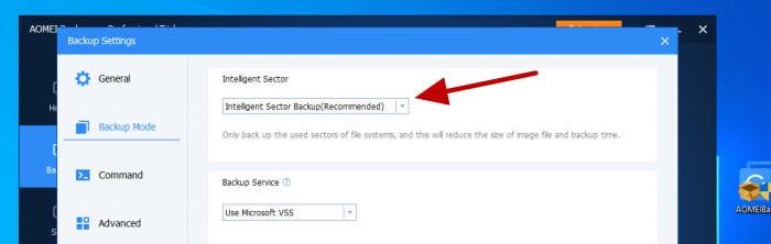 backupper intelligent sector options