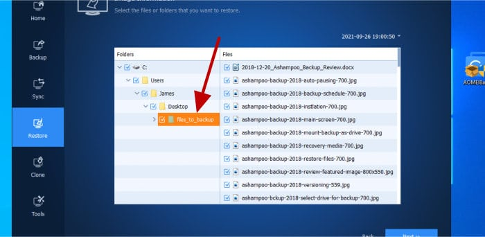backupper - select files to restore