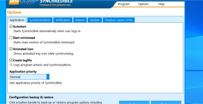 synchredible options - application tab