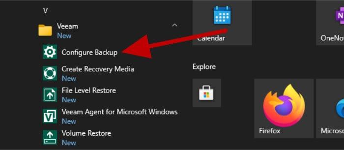 veeam configure backup in start menu