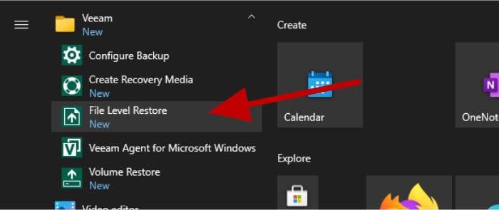 veeam agent file restore in start menu