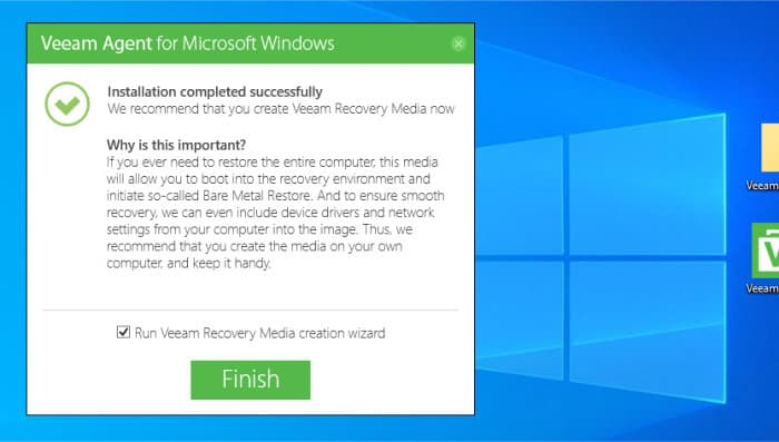 create recovery media during veeam agent install