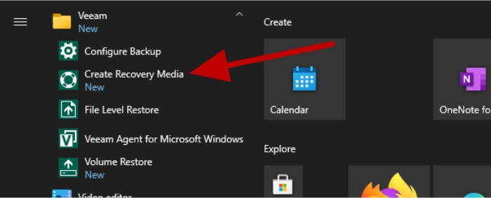 veeam recovery media tool in start menu