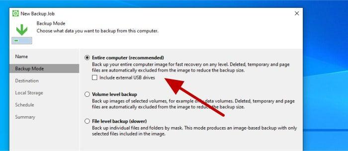 veeam agent - select full system image backup