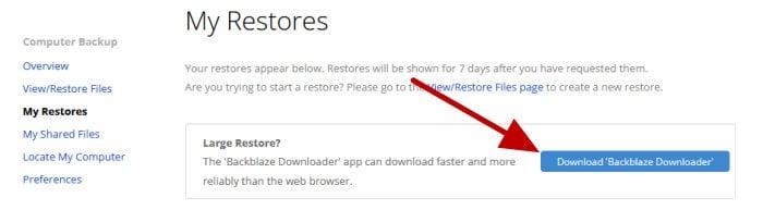 backblaze downloader download button