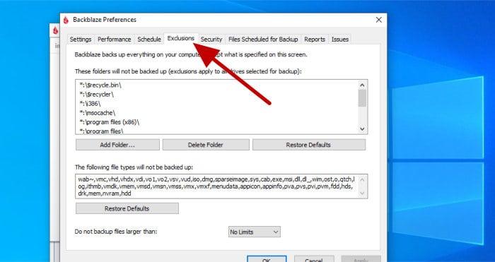 backblaze file exclusion settings