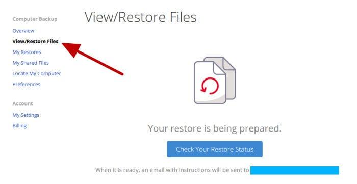 backblaze preparing web restore