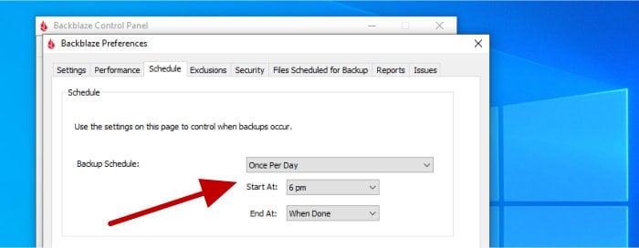 set daily backblaze schedule