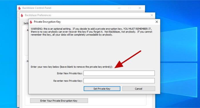 backblaze setting encryption key