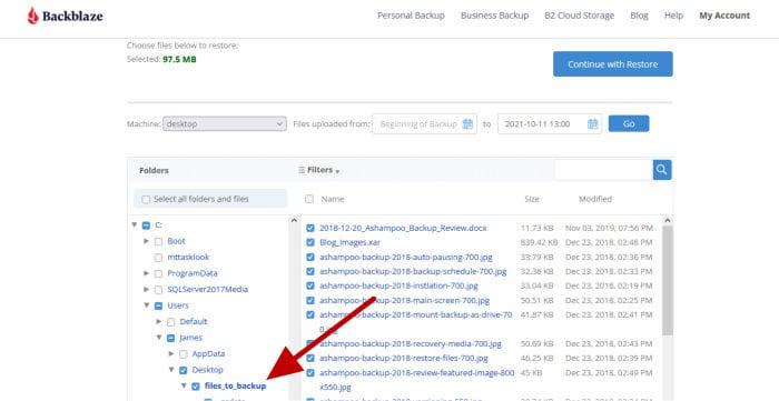 backblaze web restore file picker