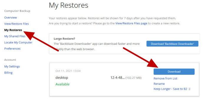 backblaze web restore zip download