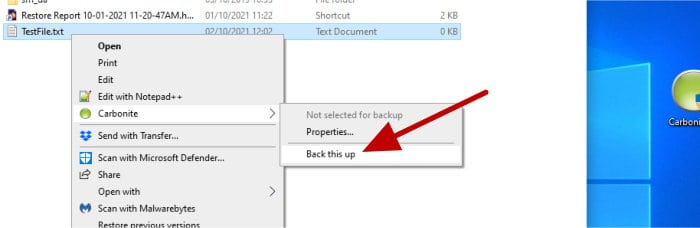 carbonite context menu add files