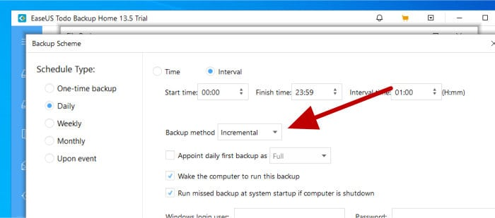todo backup - set incremental backup method