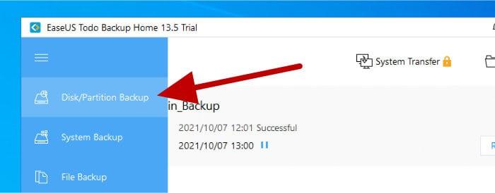 todo backup - disk image backup in menu