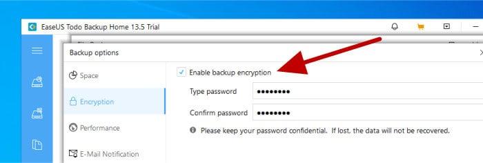 todo backup enable backup encryption