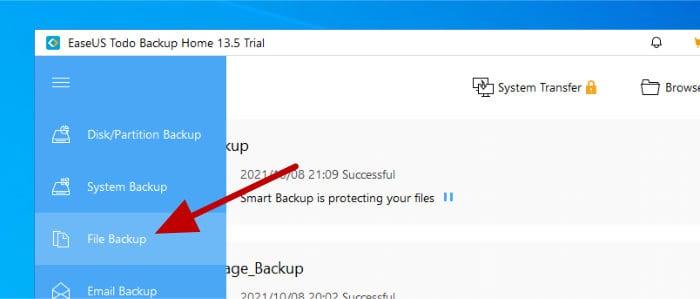todo backup - select file backup from menu