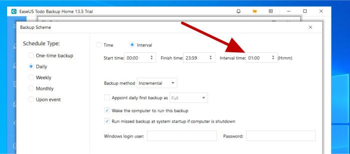 todo backup setting 1hr backup schedule