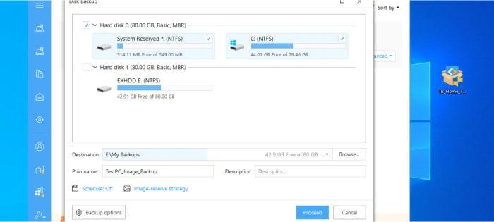 todo image backup configuration screen