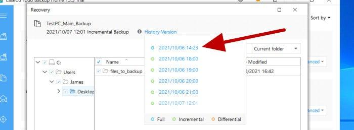 todo backup restore historic version